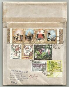 India 2003 Temple strip of 4 on RTS padded cover to France & back