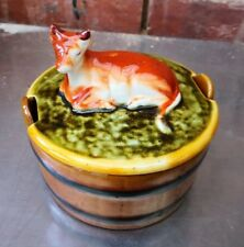 VINTAGE POSSIBLY GERMAN POTTERY BUTTER DISH WITH COW LID BASE LIKE BUTTER CHURN