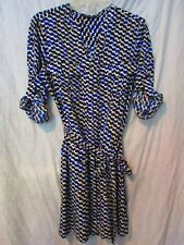 NWOT EXPRESS ROYAL BLUE BLACK PRINT SHIRT DRESS TUNIC TAB ROLL UP SLEEVES M