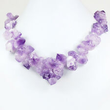 """Gorgeous! Natural Purple Amethyst Nugget Necklace with Gold Tone Clasp 20-22"""""""