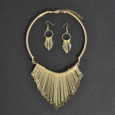 Charm Tassel Gold/Silver Pendant Chain Choker Collar Bib Necklace Jewelry Set