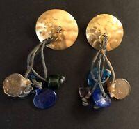 Handmade Gold Tone Vintage Glass Bead Leather Pierced Ear Earrings Tribal