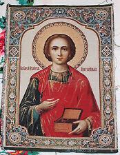 """Gobelin tapestry ORTHODOX Icon of St Panteleimon Panteleon Пантелеймон 12""""x16"""""""