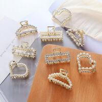 Fashion Women Pearl Crystal Mini Hair Claw Barrettes Hair Clips Hair Accessories