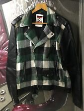 Customized Leather Biker Rock Roll Jacket With Wool Patches In Green Size 40