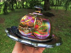 Northwood SINGING BIRDS ANTIQUE CARNIVAL GLASS BUTTER DISH~PURPLE~SPECTACULAR!