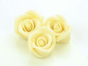 36 Marzipan Rosen Aufleger Tortendeko Blüten Blumen Hochzeit Weiß White Mittel