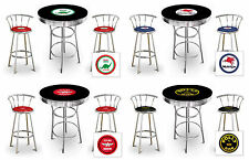 3 Piece Round Black Bar Table Set with Backrest Stools and a Vintage Gas Theme