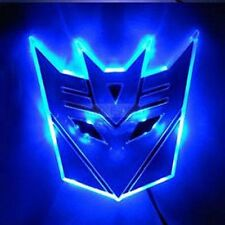 "4"" Glowing LED Transformers DECEPTICONS Car Emblem BLUE auto badge truck custom"