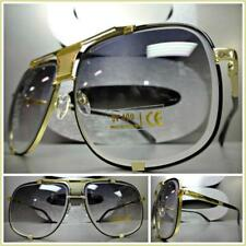 New OVERSIZED VINTAGE Designer RETRO Style SUN GLASSES Square Gold & Black Frame