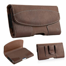 Heavy Nylon Leather Pouch Case Cover Belt Clip Loop Holster For Large Cell phone