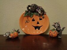 Fitz & Floyd Halloween Kitty Cat Canape Plate & 2 Tumbling Figurines
