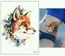 Fox Temporary Tattoo 🐾 Large A5 Waterproof Body Art Adult Tattoos Wildlife 🌈