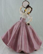 VINTAGE FIGURINE spanish woman dancer flamenco pink dress porcelain/ceramic