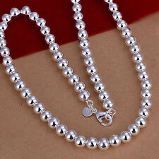 "Necklace Wholesale Sterling Solid Silver 8mm*20"" Hollow Beads Chain N111 +Box"
