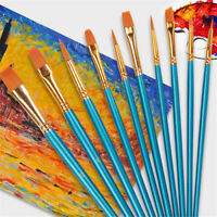 10Pcs Art Painting Brushes Set Acrylic Oil Watercolor Artist Paint Brush