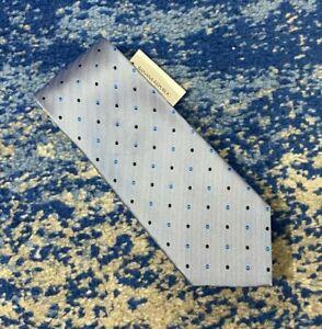 NEW Banana Republic Blue Black Bias Chevron Polka Dots 100% Silk Necktie