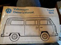 1976 Type 2 Kombi Campmobile VW Volkswagen Owners Manual, taped, beat up, intact