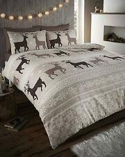 Stag Deer 100 Brushed Cotton Flannelette Thermal King Bed Duvet Quilt Cover Set