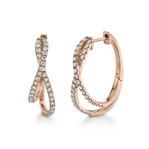 Diamond X Crossover Twist Hoop Earrings 14k Rose Gold Natural Round Cut 0.57ct