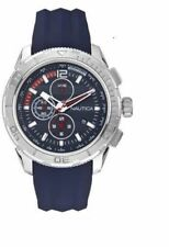 Nautica NAD20017G 40 Chronograph Blue/Orange Silicone Mineral Glass Watch $200
