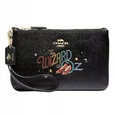 NWT Coach Wizard Of Oz Leather Wristlet Black/Gold