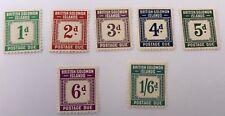 British Solomon Islands Sg D1-D6 +D8 Cat £93,50 LMM