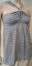 PAUL & JOE Femmes Bleu & Crème Soie géométrique Imprimer sans manches haut tunique 2 UK12