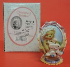 Dated 2003 Cherished Teddies Bearing Easter Wishes Girl/Toy Egg Figurine 107043