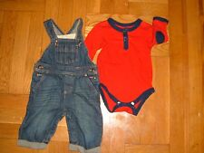 OshKosh 6 months denim jean overalls & red long sleeve one-piece bodysuit outfit