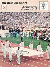 FICHE CARD JO D'Athènes Athens 1896 à Montréal 1976 Villes Jeux Olympique 70s