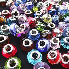 5Pcs Multicolor Murano Lampwork Glass Big Hole Beads Fit European Charm Bracelet