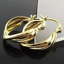 A064 GENUINE REAL 18K YELLOW G/F GOLD LADIES ITALIAN TWIST DESIGN HOOP EARRINGS