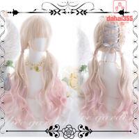 Beige+Pink Gradient Wig Sweet Lolita Japanese Long Curly Hair Fairy Harajuku #M3