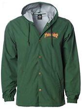Thrasher Magazine Flame Logo COACH Windbreaker Jacket Men's Size Large Green