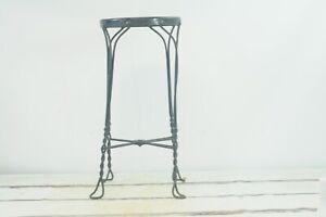"Antique Wrought Iron ice Cream Parlor Stool 26.25"" High Oak Wood Seat"