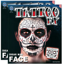 Sugar Man Day of the Dead Halloween Temporary Face Tattoo - Set of 2 Kits TT77