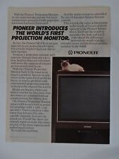 1986 Print Ad Pioneer TV Television Projection Monitor ~ Siamese Cat