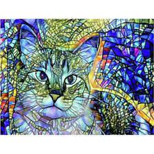Full Drill Diamond Painting Kit Like Cross Stitch Cute Stained Glass Kitten Cat