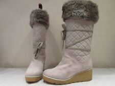 MARC JACOBS OFF WHITE SUEDE WEDGE HEEL MID HEIGHT BOOTS UK 7 EU 40 (3392)
