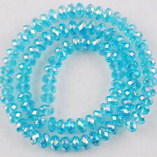 94-100 PCS , 4 X 6 mm Light Blue Faceted Crystal Gemstone Abacus Loose Beads