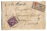 Umberto I° - cent 50 sassone 42 su raccomandata  per Cosenza  nel 1889 - 561 E
