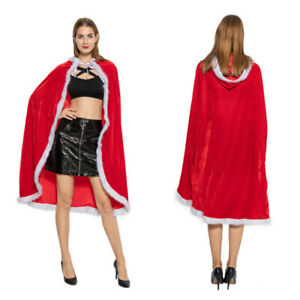 Christmas Red Velvet Santa Claus Deluxe Cloak Cape with white Fluffy Trim Xmas