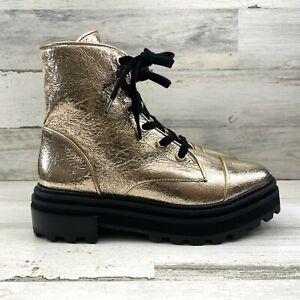 Schutz Maylova Gold Platina Combat Boots Lug Soles Lace Up Women's Size 8B