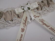 VINTAGE WEDDING GARTER Personalised Natural Cotton Burlap & Ivory lace BOXED
