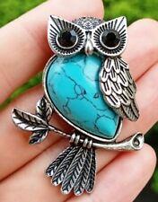 Cyan Turquoise stone Owl Pendant bead Energy Reiki Healing Amulet