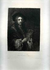 gravure eau-forte de Rembrandt gravée par Unger portrait d'homme 1876