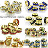 RUBYCA 100pcs Czech Crystals Rhinestone Gold Rondelle Spacer Charms Metal Beads
