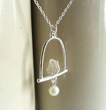 """Birdcage Necklace, Silver plated Love Bird pendant 18"""" chain cute kitsch gift UK"""