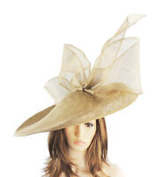 Gold Large Ascot Hat for Weddings, Ascot, Derby B7